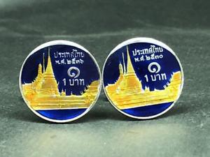 【送料無料】メンズアクセサリ― タイコインカフスボタンthailand coin cufflinks 20mm