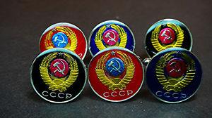 【送料無料】メンズアクセサリ― ロシアエナメルコインカフリンクスrussia enamelled coin cufflinks