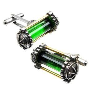 【送料無料】メンズアクセサリ― ゴシックカフスボタンボックスグリーンicial alchemy gothic miasmatic reactor core cufflinks gift boxed green