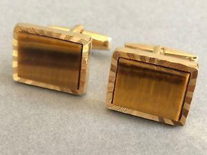 【送料無料】メンズアクセサリ― ビンテージタイガーアイカフスボタンゴールドトーンメタルレトロvintage tigers eye cufflinks by swank rectangular, gold tone metal retro