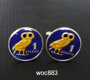 【送料無料】メンズアクセサリ― ギリシャエナメルコインカフスボタンフクロウカフ1973 greece enamelled coin cufflinks apaxmh owl cuffs