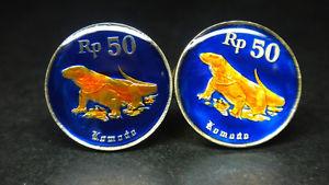 【送料無料】メンズアクセサリ― インドネシアエナメルコインカフスボタンコモドドラゴンリザードindonesia enamel coin cufflinks komodo dragon lizard 19mm