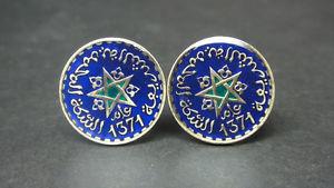 【送料無料】メンズアクセサリ― モロッコエナメルコインカフスボタンmorocco enamelled coin cufflinks maroc