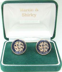 【送料無料】メンズアクセサリ― ライオンズカフリンクス3 lions uk 1 cufflinks made from real coins in blue amp; gold