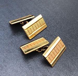 【送料無料】メンズアクセサリ― ゴールドカフリンクスリンクチェーンビンテージレトロメンズ listingrolled gold cufflinks link chain vintage retro machined mens rectangular oblong