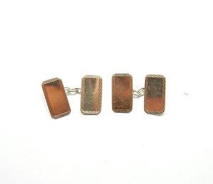 【送料無料】メンズアクセサリ― ビンテージスターリングシルバーボーダーcufflinks vintage 925 sterling silver border patterned gents 54g