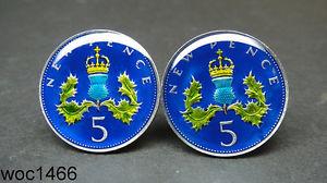 【送料無料】メンズアクセサリ― エナメルコインカフスボタンペンススコットランドシスルデザインbritish enamelled coin cufflinks 5 pence crowned scottish thistle design 22mm