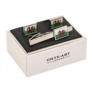 【送料無料】メンズアクセサリ― カフスリンクネクタイピンセットフラグflag of wales cufflinks and tie clip gift set