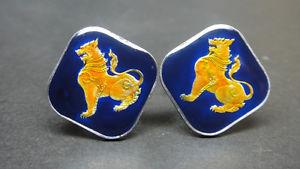 【送料無料】メンズアクセサリ― ビルマエナメルコインカフリンクスエナメルコインライオンカフburma enamelled coin cufflinks enameled coin lion cuffs