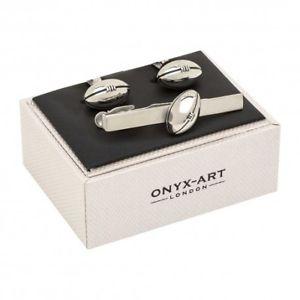【送料無料】メンズアクセサリ― ラグビーボールカフスボタンタイクリップセットclassic rugby ball cufflinks and tie clip gift set