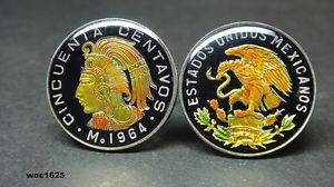 【送料無料】メンズアクセサリ― メキシコエナメルコインカフスボタンセントmexico enamelled coin cufflinks 50 cents
