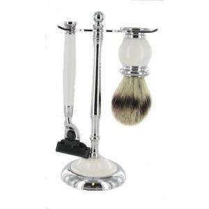 【送料無料】メンズアクセサリ― ブラシシェービングセットwhite shaving set with bristle brush