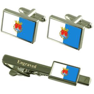 【送料無料】メンズアクセサリ― アリカンテスペインフラグカフスリンクネクタイピンセットalicante city spain flag cufflinks engraved tie clip set