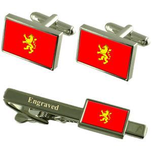 【送料無料】メンズアクセサリ― サラゴサスペインフラグカフスリンクネクタイピンセットsaragossa city spain flag cufflinks engraved tie clip set