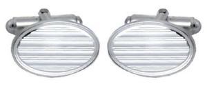 メンズアクセサリ— リージェンシーストライプスターリングregency stripe oval hallmarked sterling silver cufflink
