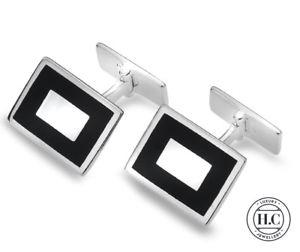 【送料無料】メンズアクセサリ― スターリングシルバーオニキスカフリンクスgenuine sterling silver onyx rectangle cufflinks