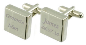 【送料無料】メンズアクセサリ― スターリングシルバースクエアカフリンクスgrooms man engraved sterling silver square cufflinks