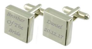 【送料無料】メンズアクセサリ― スターリングカフスリンクbrother of bride engraved sterling silver square cufflinks