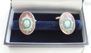 【送料無料】メンズアクセサリ― カフリンクススターリングシルバーカフリンクメーソンシンボルエナメルcufflinks sterling silver cuff links mason symbol enamelled 29th regiment