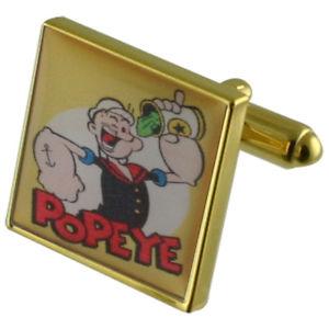 【送料無料】メンズアクセサリ― ポパイゴールドスクエアカフリンクスpopeye cartoon gold square cufflinks with engraved personalised case