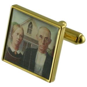 【送料無料】メンズアクセサリ― ゴシックアメリカゴールドスクエアカフリンクスgothic american gold square cufflinks with engraved personalised case