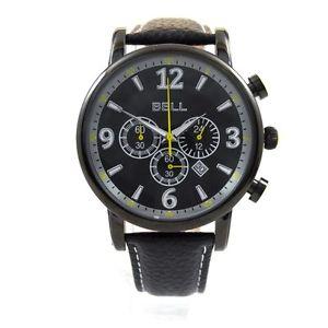 腕時計 ウォッチ ベルアラームクロノグラフナイツブラックレザーストラップreloj crongrafo bell relojes caballeros correa de cuero negrofecha pvp  139