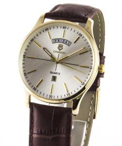 【送料無料】腕時計 ウォッチ アラームシリーズユーコンステンレススチールゴールドシルバーインデックスcavadini reloj hombre serie yukon, daydate, acero inoxidable dorado, ndice de plata