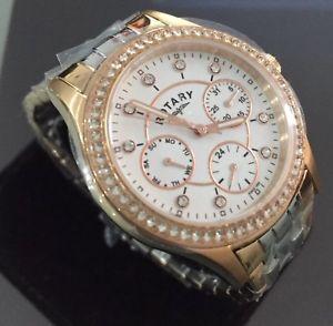 【送料無料】腕時計 ウォッチ レディーストーンピンクゴールドドレスロータリーアラームseoras vestido giratorio genuino reloj cristales de oro rosa de fecha en dos tonosblanco fecha