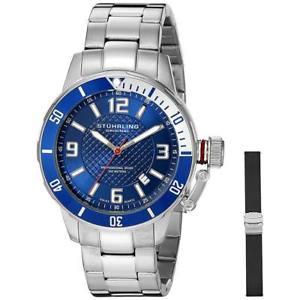 【送料無料】腕時計 ウォッチ ステンレススチールブレスレットスイスクオーツアラームstuhrling original hombres 42mm brazalete de acero cuarzo suizo reloj 67602set