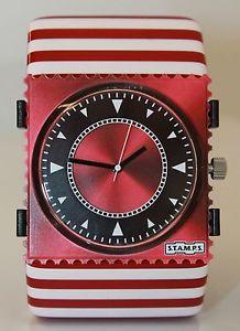 【送料無料】腕時計 ウォッチ アラームコードレッドネットワークモンパルナスストライプスタンプstamps reloj code red belta stripes red amp; white nuevo stamps