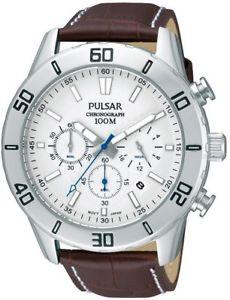 【送料無料】腕時計 ウォッチ プレスクロノグラフアラームレザーストラップpt3433x1 nuevo pulsar caballero crongrafo reloj correa de cuero