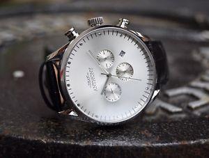 【送料無料】腕時計 ウォッチ ステンレススチールクロノグラフウォッチreloj para hombre acero inoxidable crongrafo reloj de cuero genuino de lujo rrp 9999