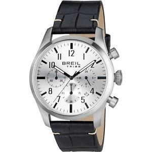 【送料無料】腕時計 ウォッチ クラシッククロノグラフウォッチシルバーorologio breil tribe classic elegance ew0230 pelle nera watch silver cronografo