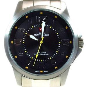 腕時計 ウォッチ スイスm?アラームswiss mountaineer 100m resistente al agua esfera negra hombre reloj smw002