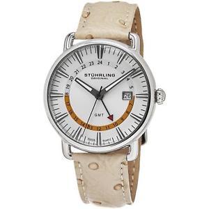 【送料無料】腕時計 ウォッチ キュベットダチョウストラップスイスクオーツアラームsthurling hombres cuvette 42mm avestruz correa cuero cuarzo suizo reloj 79101