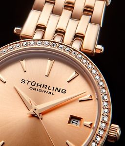 腕時計 ウォッチ ガーランドローズゴールドブレスレットキャリングケースsthurling guirnalda mujer 34mm oro rosa brazalete de acero amp; estuche
