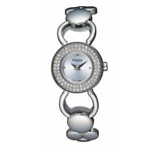 【送料無料】腕時計 ウォッチ レディースプレスシルバーステンレススチールブレスレットミネラルクリスタルケースpulsar seoras pegd 87 22mm plata pulsera de acero inoxidable reloj de cristal miner