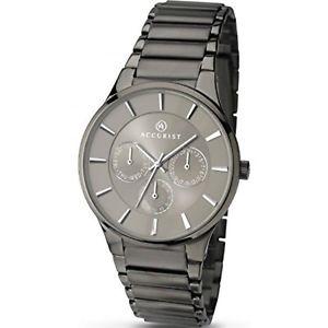 【送料無料】腕時計 ウォッチ グレーブラックベルトロンドンエリアアラームpara hombre accurist london correa negra gris esfera reloj 7038 pvp 9999