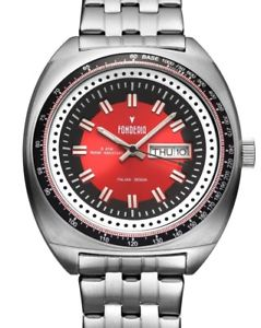 【送料無料】腕時計 ウォッチ ステンレススチールビンテージデザインfonderia reloj de pulsera para hombre acero inox da fecha rojo diseo vintage