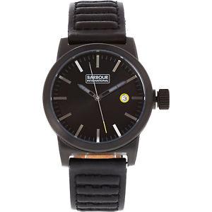 【送料無料】腕時計 ウォッチ ブラックレザークロックnuevo genuino barbour international halsted bb 024 bkbk negro cuero reloj regalo