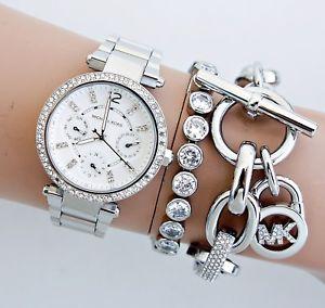 【送料無料】腕時計 ウォッチ オリジナルミニクロックパーカーカラーシルバーガラスoriginal michael kors reloj fantastico mk5615 mini parker color plata cristal nuevo