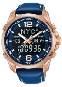 腕時計 ウォッチ クロノグラフアラームナイツレザーストラップpulsar caballeros crongrafo reloj con correa de cueropz4034x1 nuevo