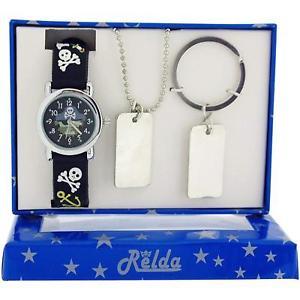 【送料無料】腕時計 ウォッチ スカルクロックタグネックレスキーチェーンセットrelda chicos skull amp; crossbones reloj, dog tag collar y llavero set de regalo rel50