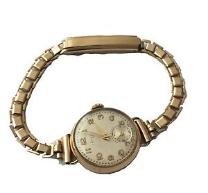 【送料無料】腕時計 ウォッチ ヴィンテージソリッドゴールドアンチスイスアラームステンレススチールクリップvintage 9 ct solid gold antimagntico hecho en suiza reloj clip de acero inoxidable 14
