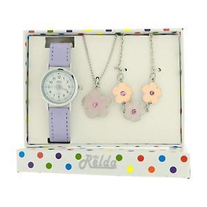 【送料無料】腕時計 ウォッチ ライラックネックレスブレスレットセットリレーションrelda kids lila flor joyera reloj, collar, pulsera girls gift set rel26