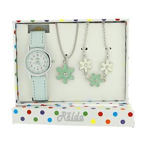 【送料無料】腕時計 ウォッチ キッズジュエリーネックレスブレスレットセットリレーションrelda kids azul flor joyera, reloj, collar, pulsera girls gift set rel25