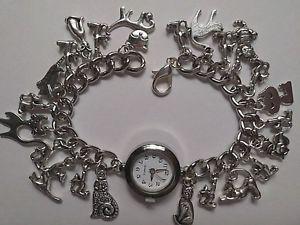 【送料無料】腕時計 ウォッチ アラームブレスレットgato de plata pulsera con dijes reloj hecho a mano con 23 dijes de plata 20cm b