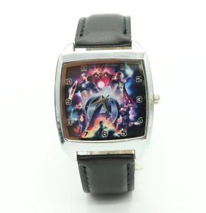 【送料無料】腕時計 ウォッチ アイアンマントールハルクウォッチreloj de pulsera marvel avengers iron man thor hulk cuadrado de acero de cuarzo de cuero negro