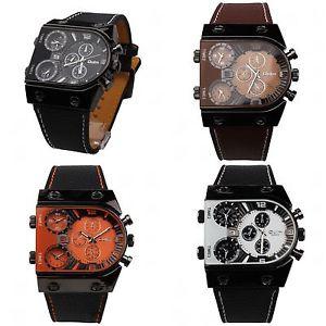 【送料無料】腕時計 ウォッチ バスアラームトリプルスケジュールメンズスポーツoulm04 reloj hombre triple uso horario acero cuero cuarzo mens sport wrist watch