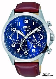【送料無料】腕時計 ウォッチ ナイツアラームブラウンベルトクロノグラフlorus caballeros reloj esfera azul, correa marrn, crongrafo rt379fx9 2 ao de garanta